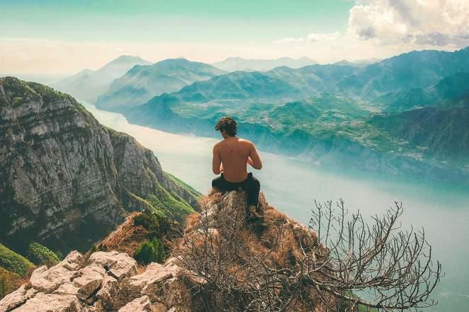 Millennial on mountain