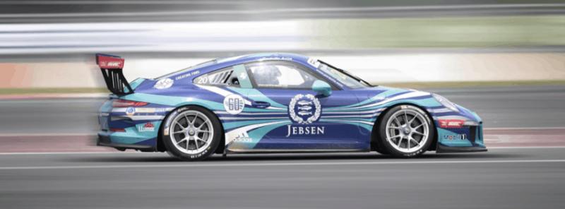 Racing Porsche with spoiler